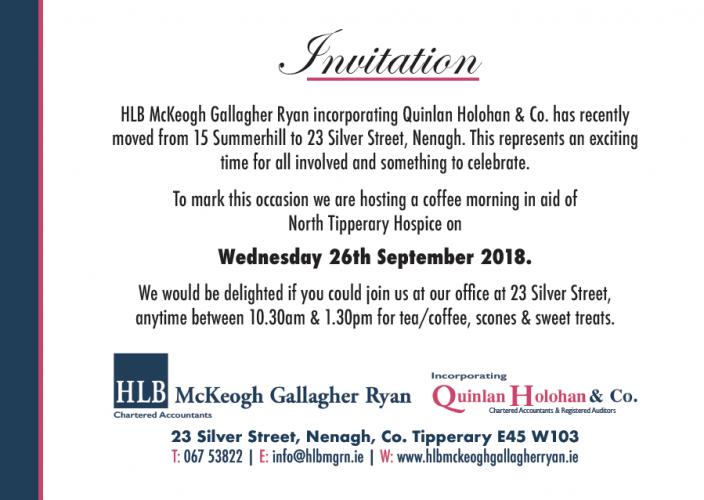 HLB McKeogh Gallagher Ryan Nenagh Coffee Morning Invitation